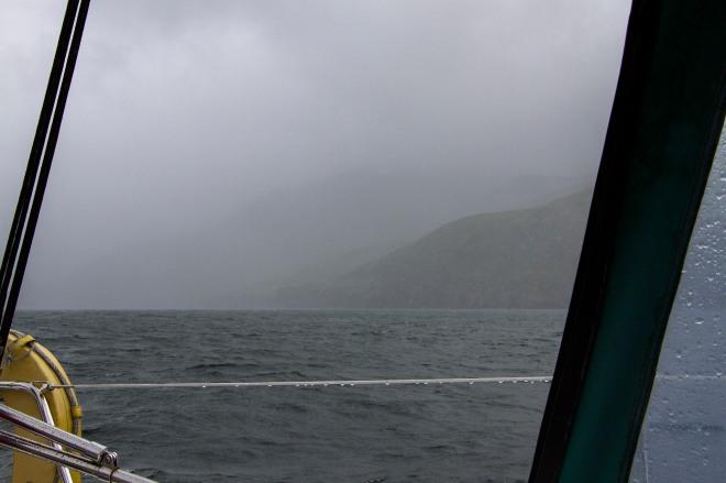Regn och dålig sikt på väg till Rum